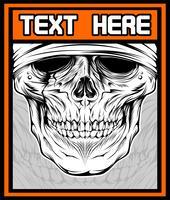 Vektorabbildung des Schädels DJ. Shirt Design auf dunklem Hintergrund. Text befindet sich auf der separaten Ebene. - Vektor