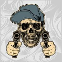 skalle bär cap hantering pistol vektor