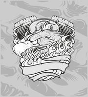 Adler mit machine.hand Zeichnung, Hemddesigns, Radfahrer, Diskjockey, Herr, Friseur und vielen anderen. Lokalisiert und einfach zu redigieren. Vektorabbildung - Vektor