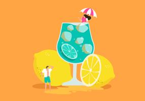 Färska Lemonade På Sommar Vektor Illustration