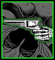 Skull Hand håll Uzi Gun