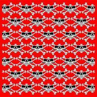 Skulls röd sömlös mönster - Vector