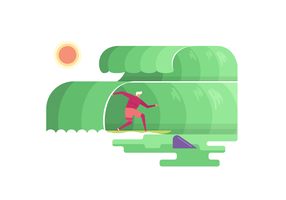 Sommer, der an der Strand-Vektor-flachen Illustration surft