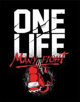 Grunge boxning motivation affisch och skriva ut med boxhandskar, text, solbränna och grunge konsistens. - Vektor