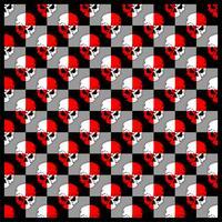 mönster skalle röd vit