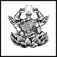 Hip-Hop-Schädel tragen Pistolen und Musikvektor vektor