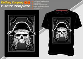 T-Shirt Schablone mit Schädelpiraten, Handzeichnungsvektor