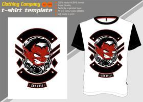 T-Shirt Schablone mit Luzifer, Handzeichnungsvektor