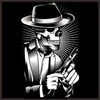 Skelettgangster mit Revolvern im Anzug. Vektor-illustration