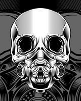 Schädel mit Respirator. Vektor Handzeichnung