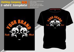 t-shirt mall med två skalle, handritningsvektor vektor