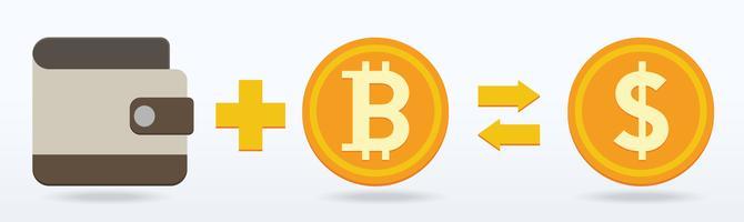 Bitcoin platt design, digitalt eller virtuellt mynt vektor