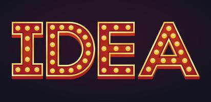 IDEA banner alfabet skyltmarkeringslampa tappning