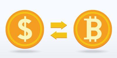 Flaches Design des Bitcoin-Austauschs, digitale oder virtuelle Münze