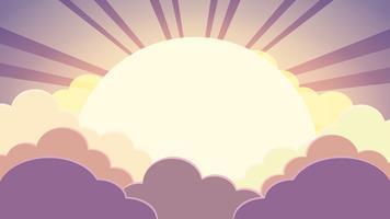 Färgglada himmel i skymningen tid bakgrund med moln och sol med strålar vektor