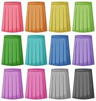 Set med olika färg på kjol