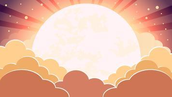 Bunter Himmel im Dämmerungszeithintergrund mit Wolken und Sonne mit Strahlen vektor