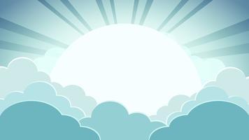 Bunter Hintergrund des grünen Himmels mit Wolken und Sonne mit Strahlen vektor