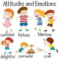 Reihe von Einstellungen und Emotionen der Kinder vektor