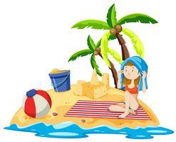 Mädchen sitzt auf der Insel