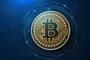 Bitcoin på en modern mikrochip vektor