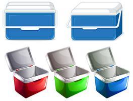 Set av islåda behållare