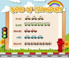 Art des Transportarbeitsblatts vektor