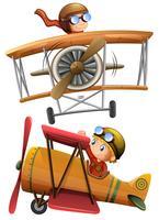 Set med klassiskt flygplan vektor