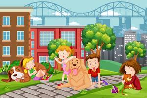 Barn med husdjur vid parken vektor