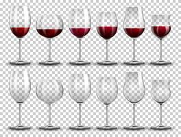 Set Wein auf verschiedenen Gläsern