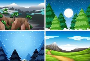 Sats av olika natur scener