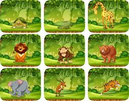 Sats av djur i naturen scen