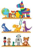 Sats av leksaker på hyllan