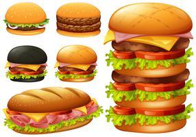 En uppsättning hamburgare på vit bakgrund vektor