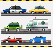 Satz des unterschiedlichen Autos auf der Straße vektor