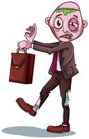 En zombie affärsman på vit bakgrund vektor