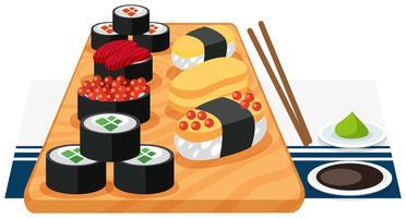 En uppsättning sushi på tallrik