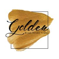 Guld pensel stroke ram, Guld textur färg fläck, Vektor illustration.
