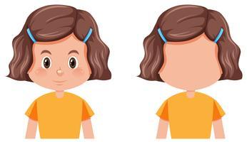 Set av flicka olika frisyr vektor