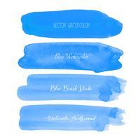 Blaues Bürstenanschlagaquarell auf weißem Hintergrund. Vektor-illustration