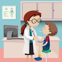 En pojke checkup på sjukhus