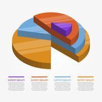 platt cirkel 3d infografiska element vektor mall