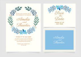 Vektor blått blommig bröllopsinbjudan