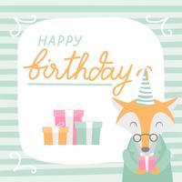 Grattis på födelsedagen Animal Fox Cartoon Greeting vektor