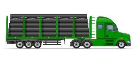 lastbil semitrailer leverans och transport av byggmaterial koncept vektor illustration