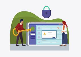 cyber säkerhetskontroll vektor platt illustration
