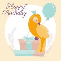 Vektor Canary Grattis på födelsedagskortet