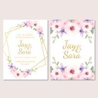 Söt bröllopsinbjudningsmall med blommor vektor