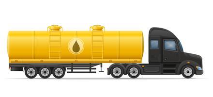 LKW-Sattelschlepperlieferung und Transport des Behälters für flüssige Vektorillustration