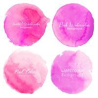 Rosa akvarell cirkel sätta på vit bakgrund. Vektor illustration.